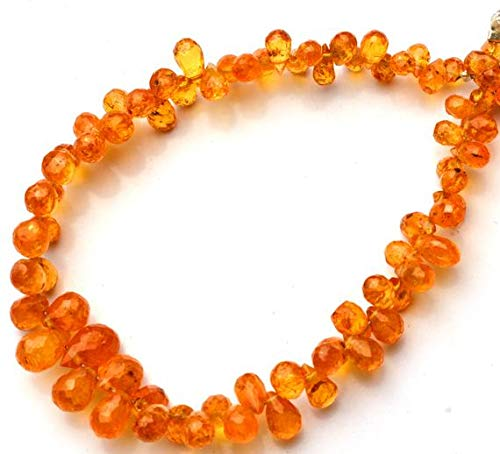 (KALISA GEMS Beads Gemstone 1 Strand Natural Songea Africa Yellow Sapphire 2x4 to 5x8MM Approx Faceted Teardrop Shape Briolettes Full 5.5 Inch)