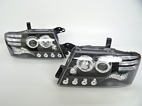 三菱 ホワイトLED&イカリング付きプロジェクターヘッドライト パジェロ V60 V70系 ヘッドランプ インナーブラック B078NLPVKZ