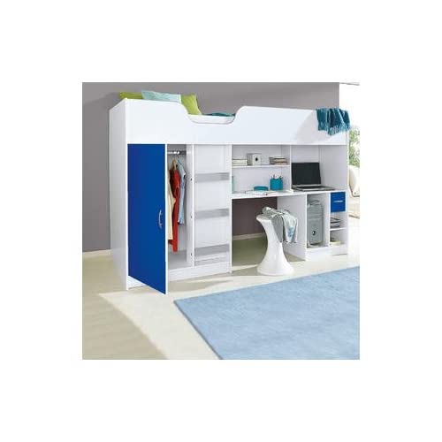 Bunk Bed With Desk Throughout Mrsflatpack Lifestyle High Bed White With Blue Door And Drawer M1400blu Bunk Beds Desk Amazoncouk