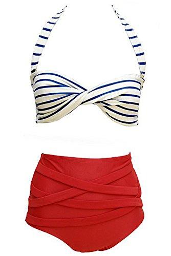 Retro Polka Stripe Bow Vintage High Waisted 2 Pieces Bikini Swimsuit (M)