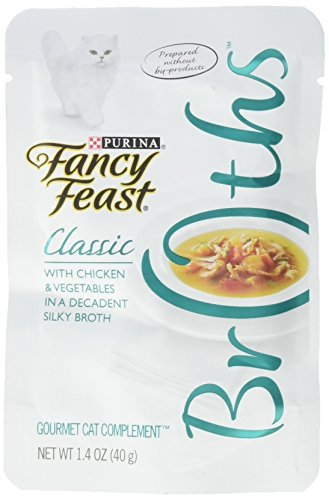 Purina Fancy Feast Broth For Cats, Classic, With Chicken & Vegetables, 1.4-Ounce Pouch, Pack Of 32
