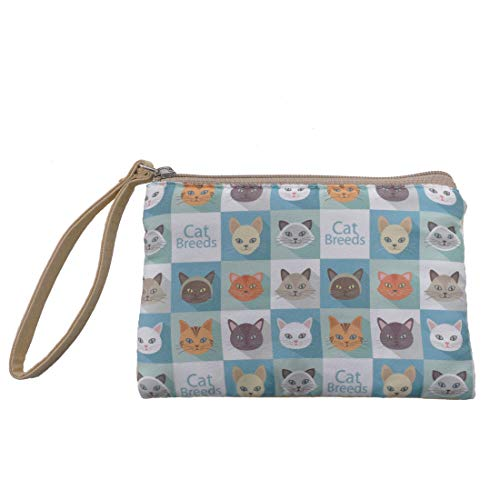 Talendi Women's Canvas Coin Change Purse Zippered Makeup Cellphone Bag With Wristlet Strap (Lovely Kitty)