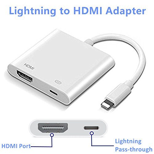 Lighting to HDMI, Lighting to HDMI Adapter, Lightning Digital AV Adapter, with Lightning Charging Port, Compatible iPhone, iPad, iPod Touch, for HD TV Monitor Projector 1080P