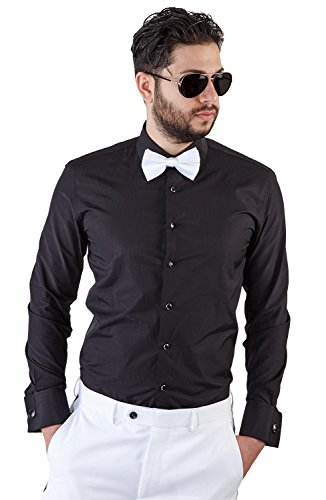 New Mens Tailored Slim Fit Black Tuxedo Shirt French Cuff Wrinkle Free...