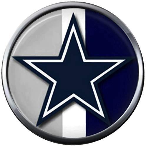 NFL Grey Blue White Logo Dallas Cowboys Diamond Plate Texas Football Fan Team Spirit 18MM - 20MM Snap Charm - Nfl White Charms