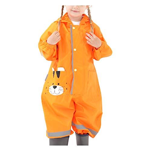 Todiri Unisex Impermeables Chaqueta Con Capucha , Impermeable Y Resistente Al Viento Para Niñas Y Niños Impermeables De Una Pieza (Naranja, M)
