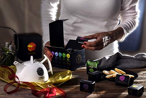 Tea with Love Gift Set & Gourmet Variety Sampler, by Ceremonie Tea. PERFECT FOR MOTHERS DAY. Organized in 10 Assorted Sample Flavors, 2 Each Mini Cube Tea Bags and Beautiful Porcelain Tea Pot