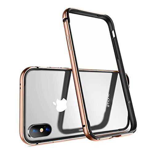 Aluminum Bumper - Humixx Aluminum TPU Hybrid Shockproof Bumper Case for iPhone Xs/iPhone X [Extre Series]-Gold