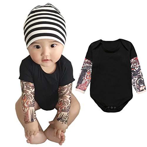 Jobakids Tattoo Sleeve Romper for Baby Boy Infant Jumpsuit Newborn T-Shirt Outfits Cotton Onesie(Black, 80cm)