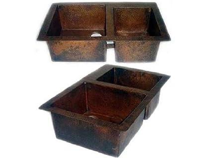 Double Bowl 60/40 Split Copper Kitchen Sink - Dark Brown - Standard on 24 bathroom vanity with sink, 24 x 16 sink, copper bowl sink, hammered copper farmhouse sink, cast iron undermount double sink, 70 30 undermount stainless steel sink,