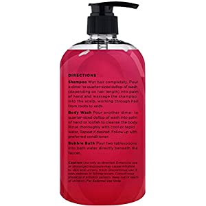 Majestic Pure Lingonberry Body Wash & Vitamin Shampoo, Natural Hyperpigmentation & Skin Whitening - Gentle, Sulfate Free Natural Shampoo - 73% Organic Ingredients - 8 fl oz