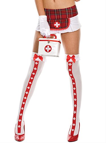 opaque thigh hi with cross and ruffle lace top with satin bow(WHITE/RED,ONE SIZE)