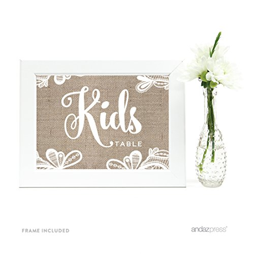 Andaz Press Wedding Framed Party Signs, Burlap Lace Printed Cardstock, 5x7-inch, Kids Table Sign, 1-Pack, Includes Frame