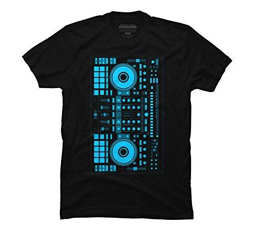 Design By Humans DJ blue Men's Large Black Graphic T Shirt