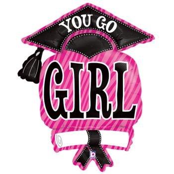 Balloon Sold Single (Graduation Cap Pink Zebra Stripe