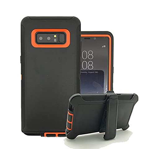Galaxy Note 8 Case, Harsel Heavy Duty Triple Layer High Impact Resistant Hybrid Rugged Hard Bumper Soft Silicone Cover Skin with Rotating Belt Clip Kickstand for Galaxy Note 8 Case (Black (Galaxy Note 8 Bundle)