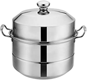 food Steamer,Stainless steel induction steamer with glass cover cooker pot and pot thickened large capacity double layer-40CM