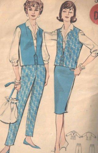 Butterick 8987 Vintage Sewing Pattern for Misses Tab Front V-neck Vest, Tapered Skirt and Pants