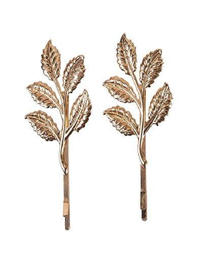 - Aaishwarya Women's Leaf Motif Hairclips/Pins (Set Of 2) Golden