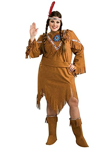 [Native American Girl Plus Size Costume, 16-22] (Indian Costumes For Women)