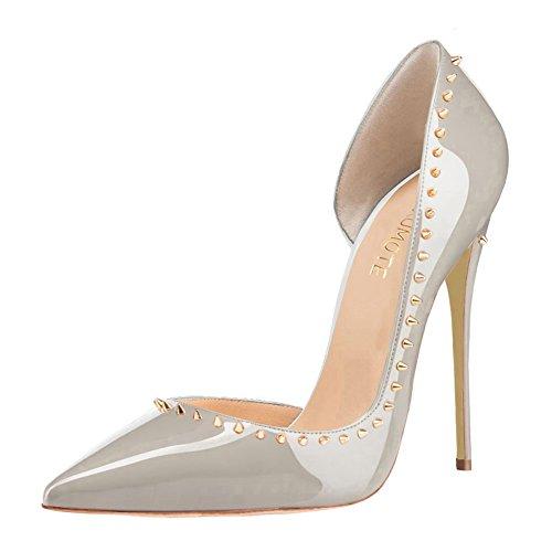MERUMOTE - Zapatos de vestir para mujer 46 gris