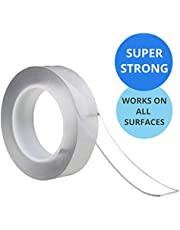 Nano Magic Tape Multifuctional Double-Sided Clear Adhesive Invisible Gel Anti-Slip Removable & Reusable All Purpose Sticky Strips 1, 3, 5 metres for Home Kitchen Wall (5 METRES)