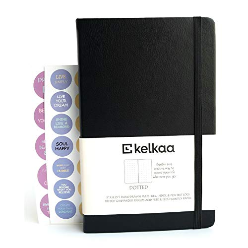 Kelkaa Dotted Bullet Notebook- Dot Grid Hardcover Journal, Classic Premium FSC Certified Notebook w/ 100gsm Thick Paper, Fine Faux Leather, Inner Pocket, Stickers, A5 (5