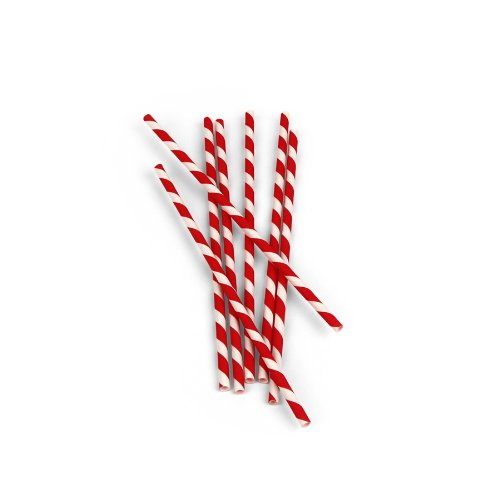 Kikkerland Biodegradable Paper Straws, Red and White Striped, Box of - Stripe Straws Unwrapped Red