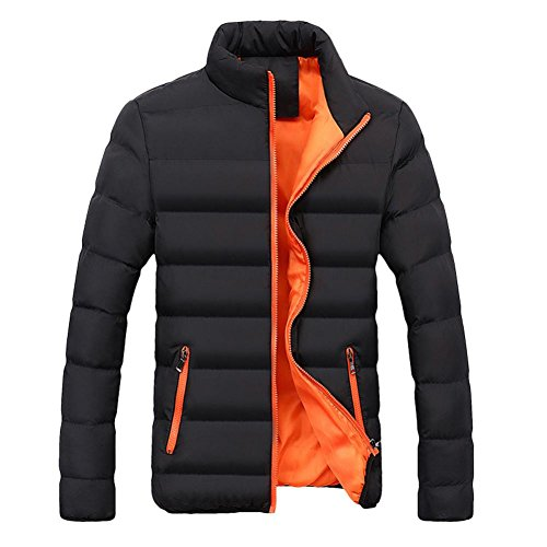 Price comparison product image Paymenow Men's Down Puffer Jacket Plus Size Winter Slim Fit Thicken Casual Parka (Orange, XXL)