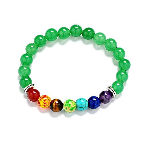 mm Lava Rock 7 Chakra Diffuser Bracelet Elastic Natural Stone Yoga Beads Bracelet Bangle (Green Aventurine) (Green Aventurine Elastic)