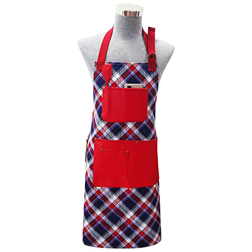 (Adjustable Bib Apron with Multifunctional 6 Pockets Extra Long Ties for Women, Men, Chef, Kitchen, Home, Restaurant, Cafe, Cooking, Baking, (Red)