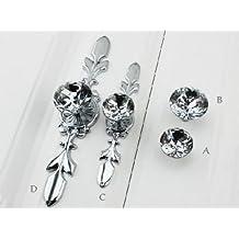 Cabinet Drawer Knob Glass Crystal Drawer Knobs Pulls Drawer Pulls Cabinet Knob Back Plate Silver Clear (B- Larger Knob)