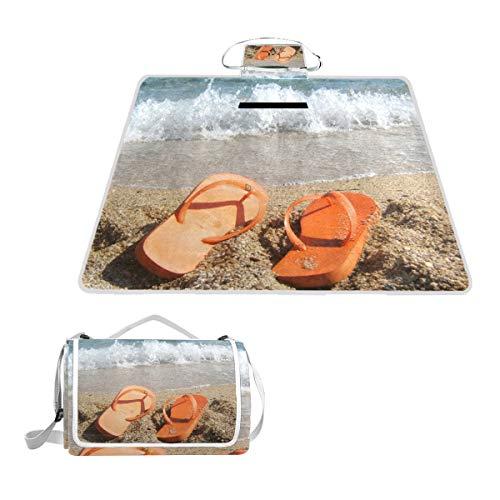 Beach Flip-Flops Large Picnic Blanket,Picnic Rug Mat 57