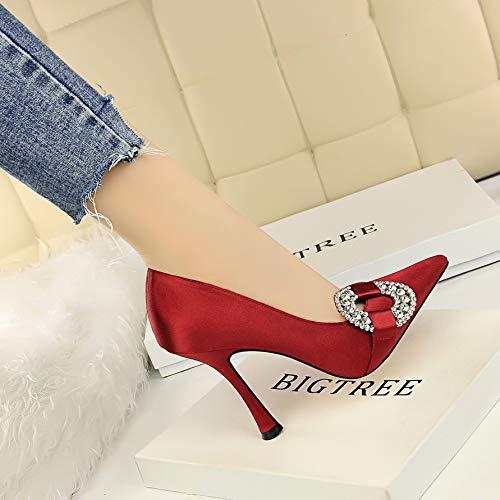 HOESCZS Fashion Ultra High Heel Glass avec boîte de Nuit Nuit Nuit Pointue Satin Shallow Mouth était Minces Chaussures en Strass, 39EU|Red wine d9661f