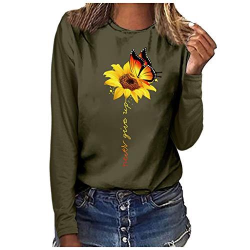 ★ Futurelove ★ ⭐ Women's Blouse,Women's Printed Casual Long Sleeve Blouses Sunflower+Elephant Print Top Plus Size T-Shirt