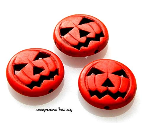 10 Orange Magnesite 19mm Jack O Lantern Carved Pumpkin Halloween Beads]()