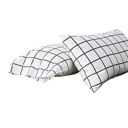 (HIGHBUY Cotton Plaid Pillowcases Set of 2 Pieces Kids Bed Standard Grids Pillow Covers Queen Decorative Pillow Shams,Envelop Closure Geometric Grids Pillow Cases Set)