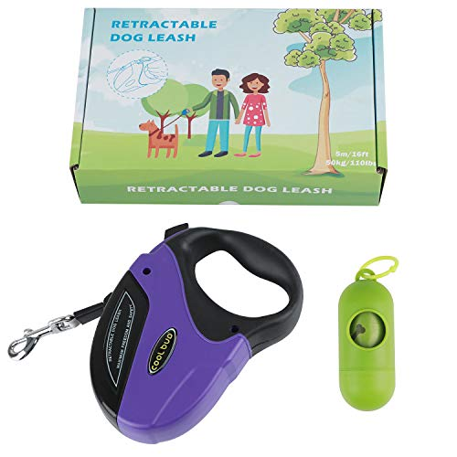 Dog Retractable Leash Heavy Duty Walking Leash Extendable Belt with Nylon Ribbon Cord for Small,Medium & Large Dogs, Hand Grip,Retractable Tangle Free,One Button Brake & Lock