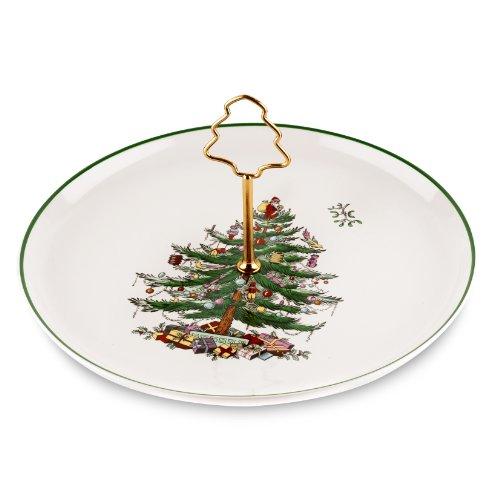 Spode Christmas Tree Cake Plate with Tree Handle