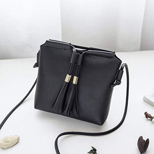 Girls Leather wuayi Women Bag for Black Messenger Satchels Purse for Tote Backpack Tassel School Shoulder Coin Phone Crossbody Work wtwgTqr