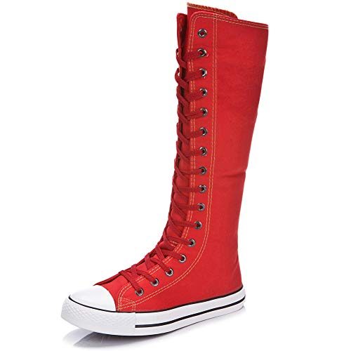 Bilun Women Fashion Canvas Dance Boots Knee High Bicycling Boots Girls Fancy School Shoes Red 905 US5.5 -