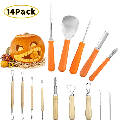 Pumpkin Carving Tool (Pumpkin Carving Pro Kit for Halloween,Professional Jack-O-Lanterns Sculpting Pro Set Pumpkin Craft Scraper,Scoop, Saw,Graver Tools (14)