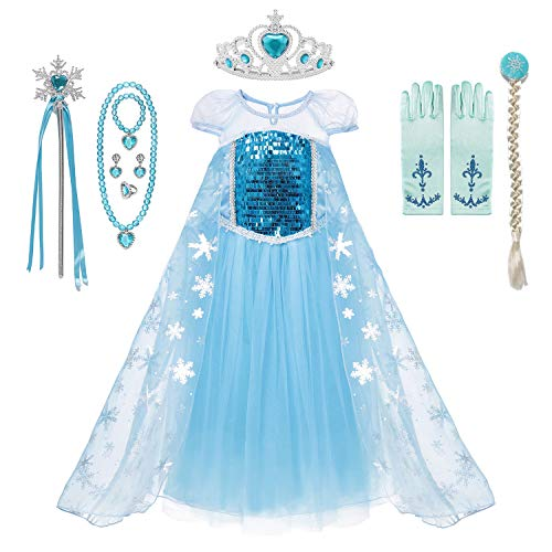MUABABY Girls Ice Snow Queen Sequin Princess Upgrade Deluxe Costume Long Sleeve Elsa (708 Blue, 3-4 Years) -