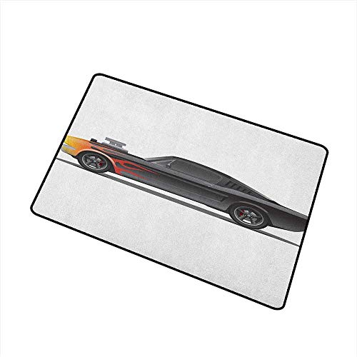(Wang Hai Chuan Cars Commercial Grade Entrance mat Custom Design Muscle Car with Supercharger and Flames Roadster Retro Styled for entrances garages patios W23.6 x L35.4 Inch Charcoal Grey Orange)
