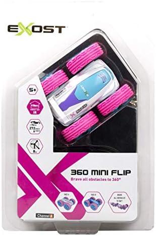EXOST - Voiture Télécommandée - 360 Mini Flip Rose - Conduite sur 2 Faces - Ultra Petite, Ultra Nerveuse - Jouet Echelle 1:34