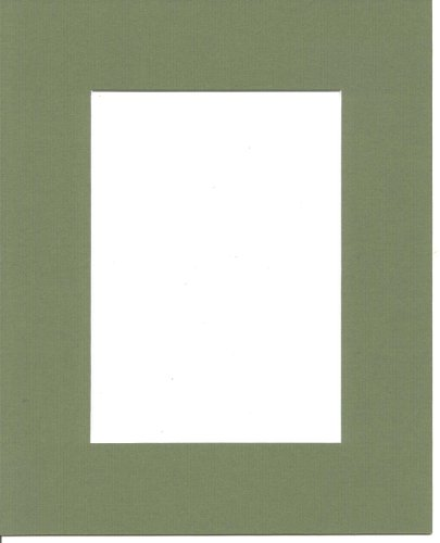 (Pack of 5 11x14 Moss Green Picture Mats with White Core for 8x10 Pictures)
