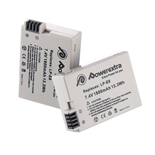 Powerextra Lot de 2 Batteries LP-E8 1800mHA Pour Canon Rebel T3i, T2i, T4i, T5i, EOS 600D, 550D, 650D, 700D, Kiss X5, X4, Kiss X6, LC-E8E
