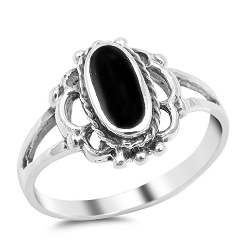 (Long Oval Simulated Black Onyx Bali Bead Ring New .925 Sterling Silver Band Size 8 )