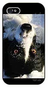 iPhone 6 Case Dog playing in snow - black plastic case / dog, animals, dogs