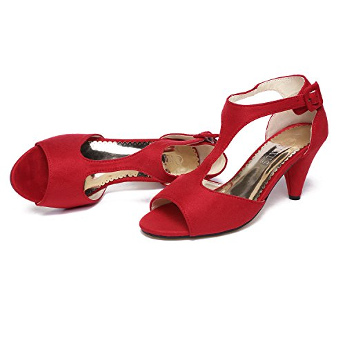 Sandals Mary Gatuxus Women T Open Jane Mid Red Kitten Toe Ankle strap Shoes Heel 76qHx7a8